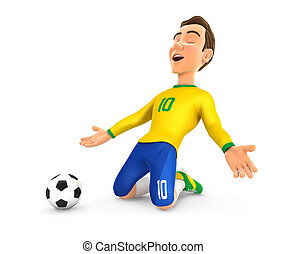 3d soccer player with yellow jersey goal celebration