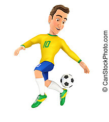 3d soccer player yellow jersey backheel control