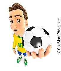 3d soccer player yellow jersey holding ball