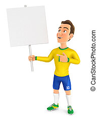 3d soccer player yellow jersey holding blank sign board