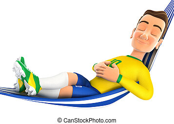 3d soccer player yellow jersey relaxing in a hammock