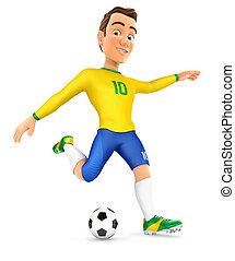 3d soccer player yellow jersey shooting ball