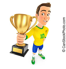 3d soccer player yellow jersey standing and holding trophy cup