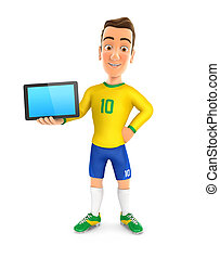 3d soccer player yellow jersey standing with a tablet