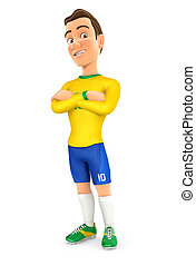 3d soccer player yellow jersey standing with arms crossed