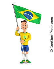 3d soccer player yellow jersey standing with flag of brazil