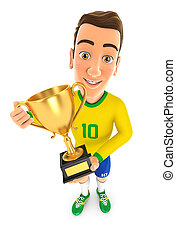 3d soccer player yellow jersey standing with gold trophy cup