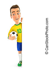 3d soccer player yellow jersey with ball behind blank wall