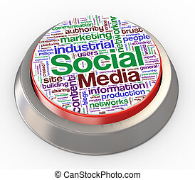3d social media button - 3d render of social media button