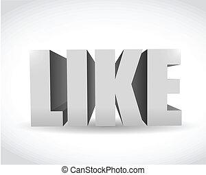 3d social media like text illustration design over white