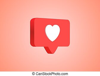 3d social media notification love like heart icon in red rounded square pin isolated on pink wall background with shadow and reflection 3D rendering