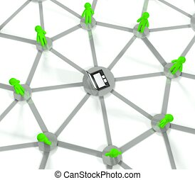 3d social network connection, internet concept
