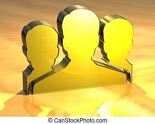 3D Social Network Gold Sign