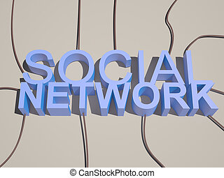 3D social network text connected wire from different directions