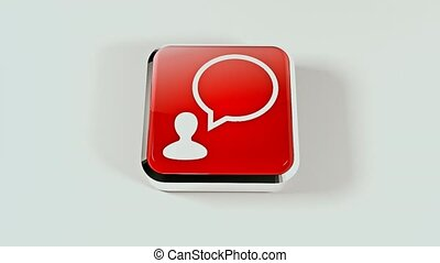 3D social networking icon. Social network button. 23 - 3D...
