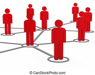 3d, social, réseau, équipe