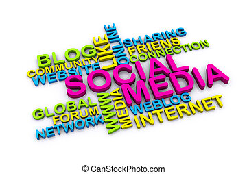 3d, sociale, media, concetto