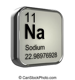 3d Sodium element - 3d render of the sodium element from the...