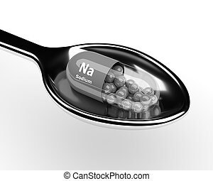3d sodium pill on spoon over white