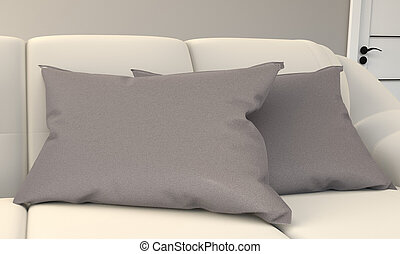 3d, sofa., interpretazione, cuscino