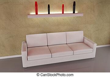 3d sofa with vase