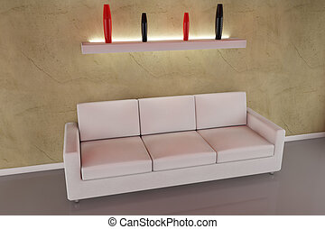 3d sofa with vase