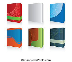 3d software box - Vector pack with six 3D software box -...