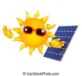 3d, sol, poderes, um, painel solar