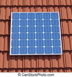3d Solar panel on roof