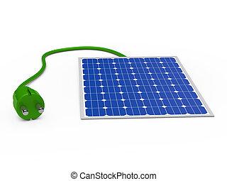 3d solar panel with green plug