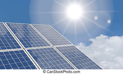 3D solar panels concept - 3D animation - solar panels, sky...