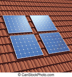 3d Solar panels on rooftop - 3d render of four solar cell...