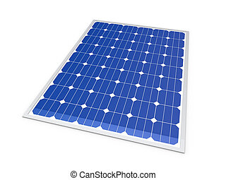 3d solar power energy isolated blue panel