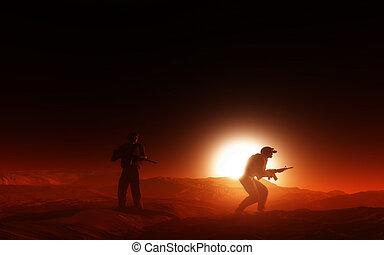 3d, soldaten, in, wüste, an, sonnenuntergang