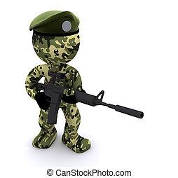 3d, soldato, textured, con, camuffamento