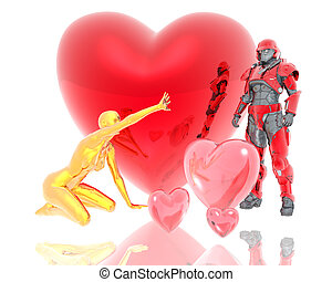 3d soldier and golden girl with a red 3d heart background