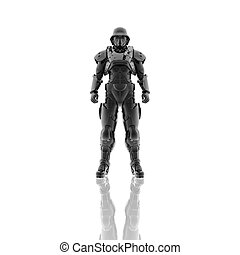 3d soldier in a gas mask isolated on a white background