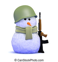 3d Soldier snowman - 3d render of a snowman wearing an army...