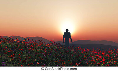 3D soldier walking in a poppy field - 3D render of a soldier...