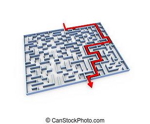 3d solved labyrinth maze puzzle