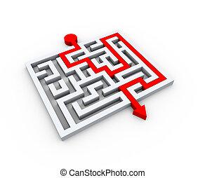 3d solved puzzle labyrinth maze