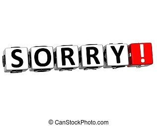 3D Sorry Block Cube text on white background