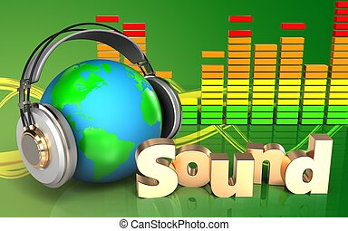 3d 'sound' sign 'sound' sign - 3d illustration of earth in...