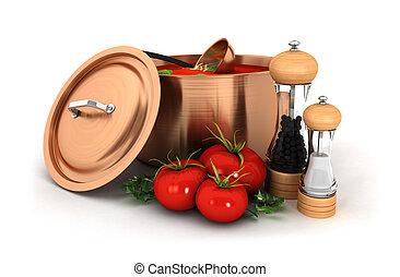 3d soup with ingredient - 3d tomato soup inside copper pot...
