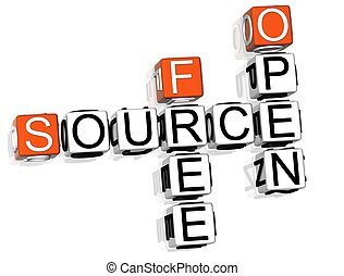 Source Crossword - 3D Source Crossword text on white...