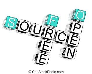 Source Crossword - 3D Source Crossword text on white ...