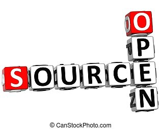 3D Source Open Crossword on white background
