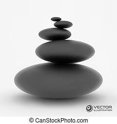 3d, spa, vektor, stones., illustration.