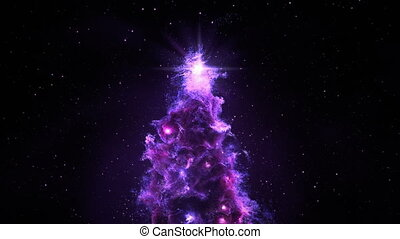 3D Space Flight Around Christmas Tree Nebula in Space Full 4K Purple