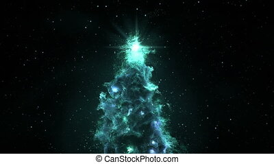 3D Space Flight Around Christmas Tree Nebula in Space Full 4K Turquoise
